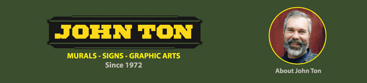 logo for John Ton and photo of John Ton, muralist and sign maker